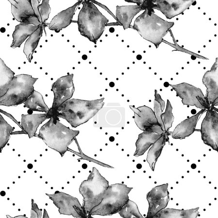 Orchid flowers. Seamless background pattern. Fabric wallpaper print texture. Watercolor background illustration.