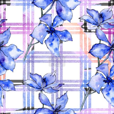 Photo for Purple orchid flowers. Seamless background pattern. Fabric wallpaper print texture. Watercolor background illustration. - Royalty Free Image