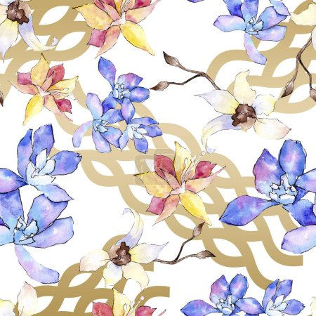 Photo for Purple, yellow and white orchid flowers. Seamless background pattern. Fabric wallpaper print texture. Watercolor background illustration. - Royalty Free Image