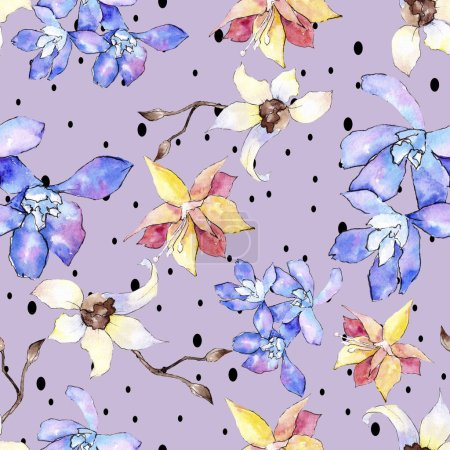 Purple, yellow and white orchid flowers. Seamless background pattern. Fabric wallpaper print texture. Watercolor background illustration.