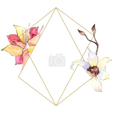 Yellow and white orchid flowers. Watercolor background illustration. Golden polygonal frame with flowers. Geometric polyhedron crystal shape.