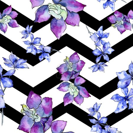 Purple orchid flowers. Seamless background pattern. Fabric wallpaper print texture. Watercolor background illustration.