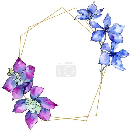 Purple orchid flowers. Watercolor background illustration. Golden  polygonal frame with flowers. Geometric polyhedron crystal shape.