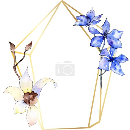 Purple and white orchid flowers. Watercolor background illustration. Golden polygonal frame with flowers. Geometric polyhedron crystal shape.
