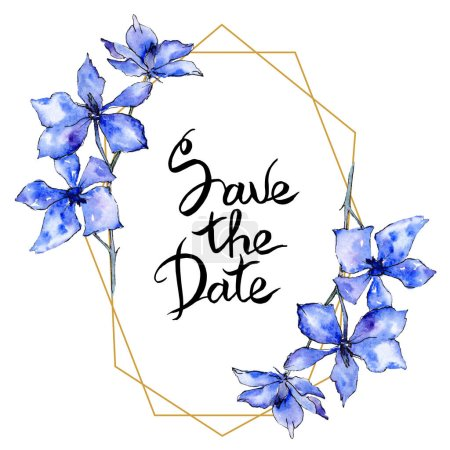 Purple orchid flowers. Save the Date handwriting monogram calligraphy. Watercolor background. Golden polygonal frame. Geometric polyhedron crystal shape.