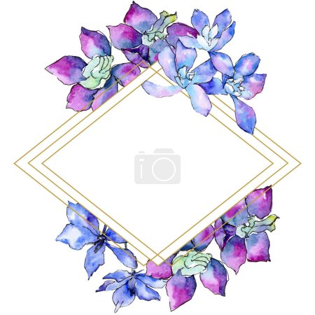 Purple orchid flowers. Watercolor background illustration. Frame border ornament rhombus. Geometric polyhedron crystal mosaic shape.