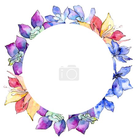 Purple, yellow and white orchid flowers. Watercolor background illustration. Frame border ornament wreath.