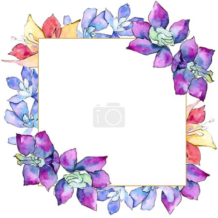 Purple, yellow and white orchid flowers. Watercolor background illustration. Golden frame border with floral ornament square.