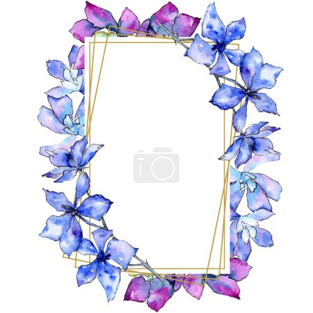 Purple orchid flowers. Watercolor background illustration. Golden  polygonal frame square. Geometric polyhedron crystal shape.