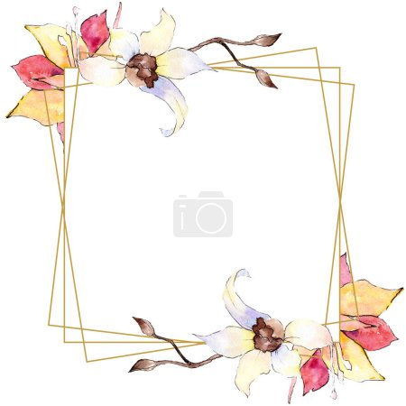Yellow and white orchid flowers. Watercolor background illustration. Golden square polygonal frame with flowers. Geometric polyhedron crystal shape.