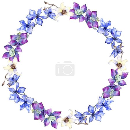 Purple and white orchid flowers. Watercolor background illustration. Frame border ornament wreath.