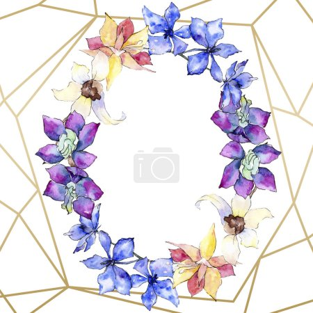 Purple, yellow and white orchid flowers. Watercolor background illustration. Golden polygonal frame with flowers. Geometric polyhedron crystal shape.