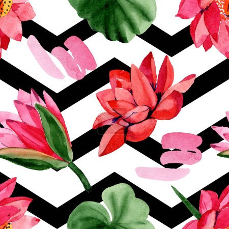 Photo for Red lotus flowers. Watercolor background illustration. Seamless background pattern. Fabric wallpaper print texture. - Royalty Free Image