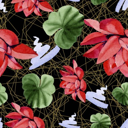 Red lotus flowers. Watercolor background illustration. Seamless background pattern. Fabric wallpaper print texture.