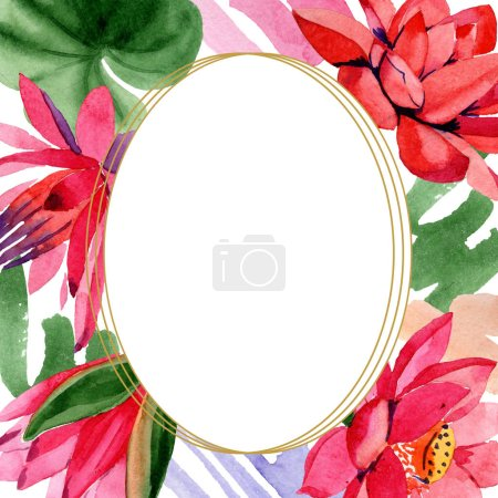 Red lotus flowers. Watercolor background illustration. Frame border golden round. Hand drawn in aquarell.