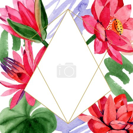 Red lotus flowers. Watercolor background illustration. Frame border golden crystal. Hand drawn in aquarell. Geometric polygon mosaic shape.