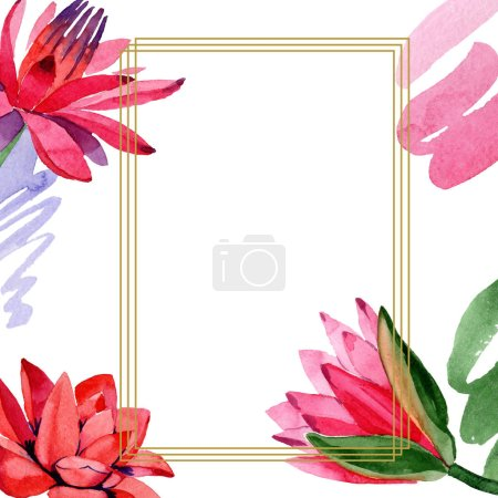 Red lotus flowers. Watercolor background illustration. Frame border golden square. Hand drawn in aquarell. Geometric polygon mosaic shape.
