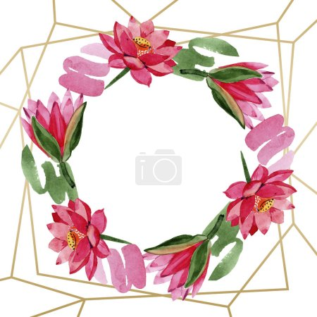 Red lotus flowers. Watercolor background. Frame border ornament wreath. Hand drawn in aquarell. Geometric polygon golden crystal mosaic shape.