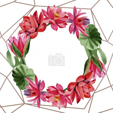 Photo for Red lotus flowers. Watercolor background. Frame border ornament wreath. Hand drawn in aquarell. Geometric polygon golden crystal mosaic shape. - Royalty Free Image