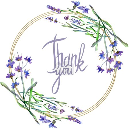 Photo for Purple lavender flowers. Thank you handwriting monogram calligraphy. Wild spring leaves. Watercolor background illustration. Round frame border. - Royalty Free Image