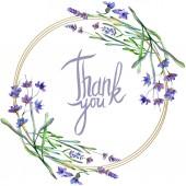 """Постер, картина, фотообои """"Цветы фиолетовые лаванды. Спасибо, Каллиграфические монограммы рукописного ввода. Дикие Весенние листья. Акварель фон иллюстрации. Круглая рамка граница."""""""