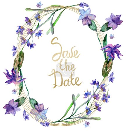 Purple lavender flowers. Save the date handwriting monogram calligraphy. Wild spring leaves. Watercolor background illustration. Round frame border.