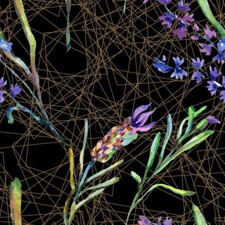 Fleurs de lavande violette. Motif de l'aquarelle fond transparent. Texture impression de tissu papier peint. Formes de mosaïque cristal or polyèdre
