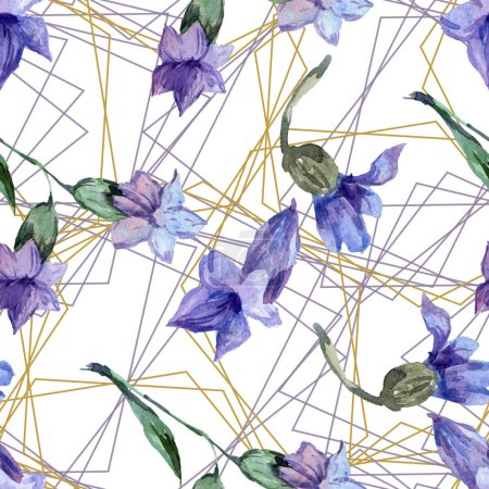 Purple lavender flowers. Watercolor seamless background pattern. Fabric wallpaper print texture. Gold crystal polyhedron mosaic shapes.