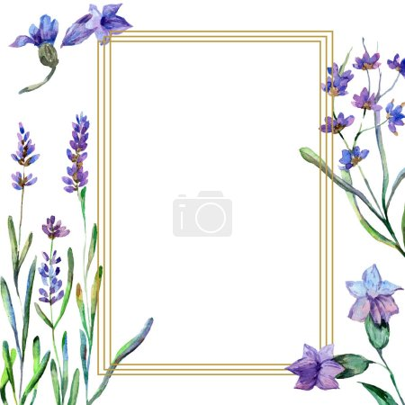 Purple lavender flowers. Watercolor background illustration. Frame square. Gold crystal stone polyhedron mosaic shape amethyst gem.