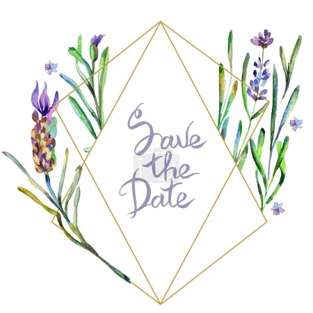 Purple lavender flowers. Save the date handwriting monogram calligraphy. Watercolor background. Frame border ornament. Gold crystal stone polyhedron mosaic shape amethyst gem.