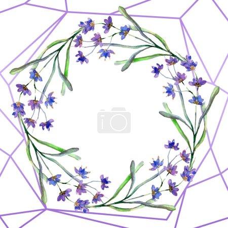 Purple lavender flowers. Watercolor background illustration. Wreath and crystal frame. Crystal stone polyhedron mosaic shape amethyst gem.