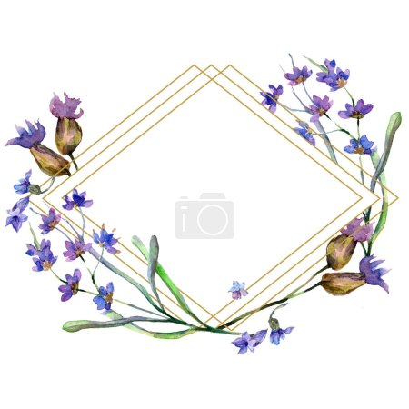 Purple lavender flowers. Watercolor background illustration. Rhombus frame. Gold crystal stone polyhedron mosaic shape amethyst gem.