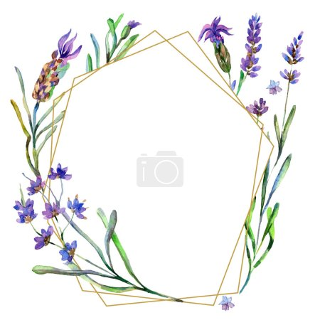 Purple lavender flowers. Watercolor background illustration. Frame border ornament. Gold crystal stone polyhedron mosaic shape amethyst gem.