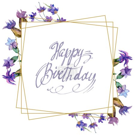 Photo for Purple lavender flowers. Happy birthday handwriting monogram calligraphy. Watercolor background. Frame border ornament. Gold crystal stone polyhedron mosaic shape amethyst gem. - Royalty Free Image