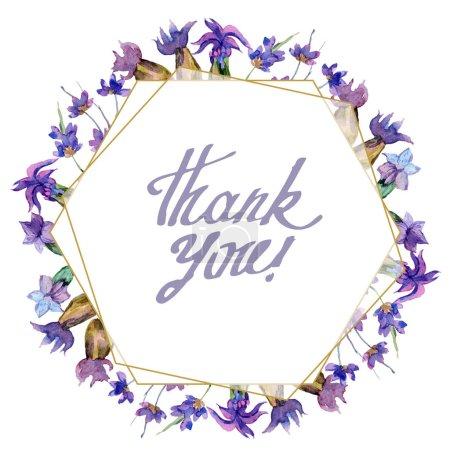 Purple lavender flowers. Thank you handwriting monogram calligraphy. Watercolor background. Frame border ornament. Gold crystal stone polyhedron mosaic shape amethyst gem.