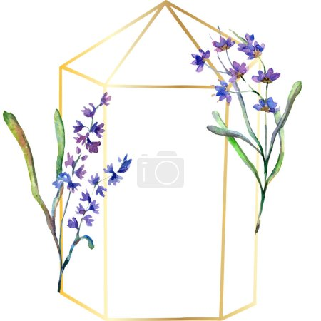 Purple lavender flowers. Watercolor background illustration. Frame border ornament. Gold crystal stone polyhedron mosaic shape amethyst gem.