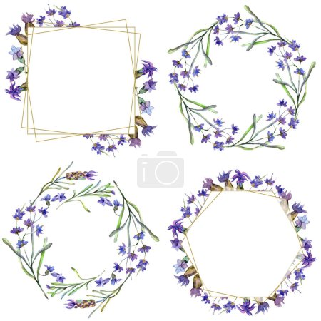 Purple lavender flowers. Wild spring leaves. Watercolor backgrounds set. Square, round, wreath and golden crystal frames set.