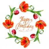 """Постер, картина, фотообои """"Удивительный красный тюльпан цветы с зелеными листьями. Счастливый день рождения почерка вензель каллиграфии. Акварель фон иллюстрации. Венок орнамент границы кадра."""""""
