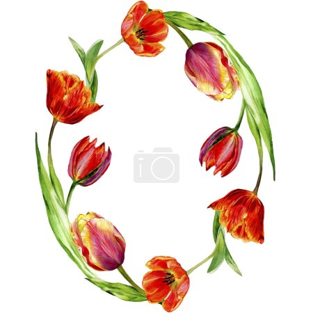 Amazing red tulip flowers with green leaves. Hand drawn botanical flowers. Watercolor background illustration. Frame round border ornament. Geometric quartz polygon crystal stone.