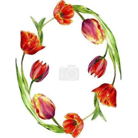 Photo pour Incroyables fleurs de tulipes rouges avec des feuilles vertes. Fleurs botaniques dessinées à la main. Illustration de fond aquarelle. Cadre bordure ronde ornement. Pierre de cristal de polygone de quartz géométrique . - image libre de droit