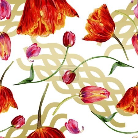 Photo for Amazing red tulip flowers with green leaves. Hand drawn botanical flowers. Watercolor background illustration. Seamless pattern. Fabric wallpaper print texture. - Royalty Free Image
