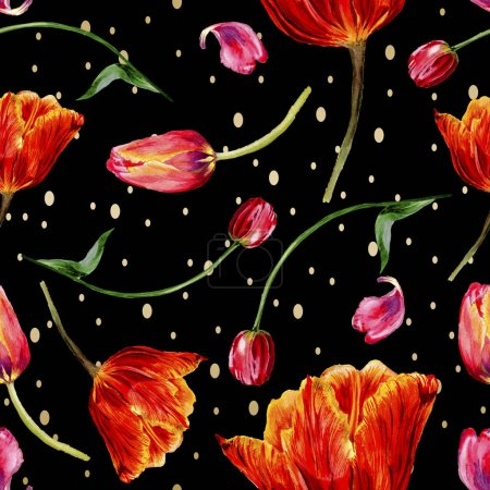Amazing red tulip flowers with green leaves. Hand drawn botanical flowers. Watercolor background illustration. Seamless pattern. Fabric wallpaper print texture.