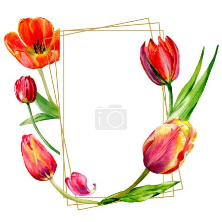 Amazing red tulip flowers with green leaves. Hand drawn botanical flowers. Watercolor background illustration. Frame border ornament crystal. Geometric quartz polygon crystal stone.