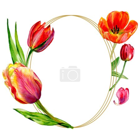 Photo for Amazing red tulip flowers with green leaves. Hand drawn botanical flowers. Watercolor background illustration. Frame round border ornament. Geometric quartz polygon crystal stone. - Royalty Free Image