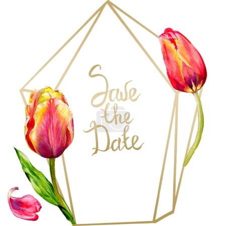 Amazing red tulip flowers with green leaf. Save the date handwriting monogram calligraphy. Watercolor background illustration. Frame crystal. Geometric shape.
