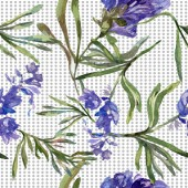 Purple lavender flowers. Seamless background pattern. Fabric wallpaper print texture. Hand drawn watercolor background illustration.