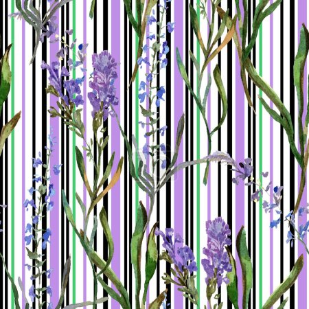 Photo for Purple lavender flowers. Seamless background pattern. Fabric wallpaper print texture. Hand drawn watercolor background illustration. - Royalty Free Image