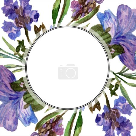 Purple lavender flowers. Wild spring flowers with green leaves. Watercolor background illustration. Round frame border.
