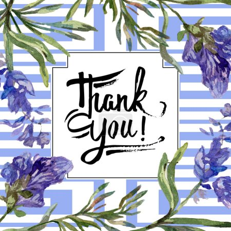Photo for Purple lavender flowers. Thank you handwriting monogram calligraphy. Beautiful spring wildflowers. Watercolor background illustration. Frame border square. - Royalty Free Image