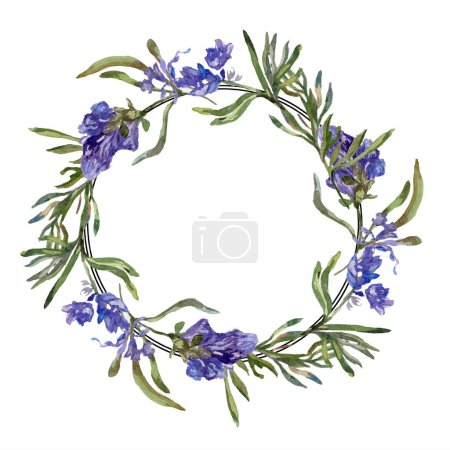Purple lavender flowers. Spring wildflowers. Watercolor background illustration. Wreath frame border.